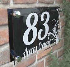 House Door Number Plaque Wall Gate Sign Name Plate Clear Acrylic Dec4-1WB