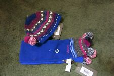 Catimini shawl scarf and hat set blue multi pom pom NWT 18-36M