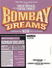 BOMBAY DREAMS THE MUSICAL UNUSED ADVERTISING COLOUR POSTCARD