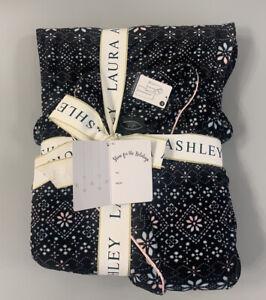 NWT Laura Ashley Womens Medium Pajama Set Black Pink Aqua Fair Isle Fleece Pants