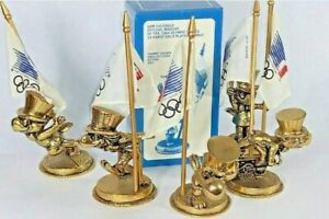 Complete set of 8 1984 OLYMPICS SAM EAGLE 14K GOLD plated statue FIGURINES RARE