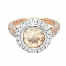 New 18Carat Rose Gold 2.67tcw Champagne Diamond Halo Solitaire Ring (Size L 1/2)