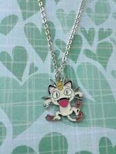 Cute meow cat pokemon anime video game geek charm chain necklace funny jewelry