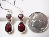 Faceted Garnet Teardrop and Round Double Gem 925 Sterling Silver Earrings