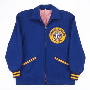 Vintage HATCHERS Royal Blue Wool Worker Zip Up Worker Jacket Size Womens Small