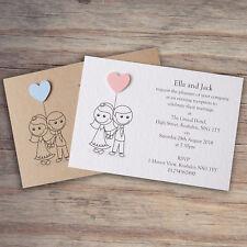 25 Wedding Invitations Evening Invites Personalised & Handmade with Envelopes