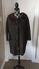 TRUE VTG MCM WOMEN'S LEATHER SOFT SUEDE RICH BROWN DRESS COAT; MINK COLLAR EUC