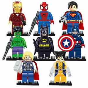 8 Stück Avengers Superhelden Superman Batman Hulk Minifiguren Kinder Spielzeug