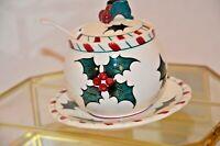 VINTAGE RARE LEFTON Holly Berry & Candy Cane Christmas Jam/Jelly/Condiment Jar