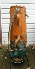 Vintage Ping Leather & Green Plaid Cart Golf Bag W/Rain Cover