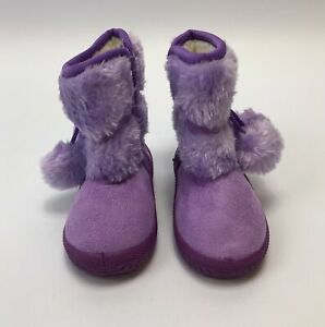 Baby Girl Purple Size 21 Boots Soft Faux Fur Round Toe Zipper NWOT