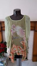 TRAFFIC PEOPLE MESH LIGHT GREEN TUNIC / BLOUSE / TOP SIZE XS