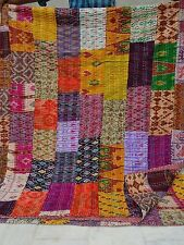 Silk Quilt Indian Ikat Patola Kantha Patchwork Blanket Handmade Bed Spread King