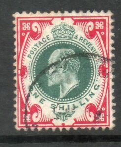 1902 SG259 SPEC M46 (4), 1/- Deep Dull Green and Scarlet cds Chalky paper