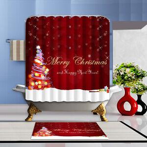 Merry Christmas Home  Bathroom Decor Shower Curtain Waterproof Fabric & 12 Hooks