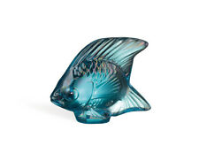 Lalique - Glass Sculpture - Fish - Turquoise Luster