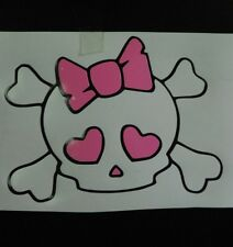SKULL and CROSS BONES WITH BOW  2 COLOR VINYL STICKER