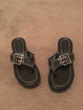 apostrophe Women's Slip On Sandals Flip Flops Sz 7 1/2 Wedge Heel Black Shoes