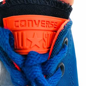 Men All Star Converse Blue Low Top Sneaker Size 5 (Womens 7) Neon Orange Lace up