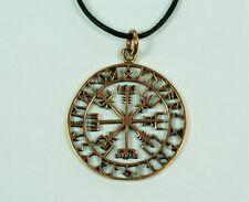 SET Wikinger Anhänger Vegvisir Runen Bronze Wikingerkompass beidseitig tragbar