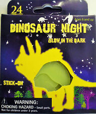 24 x Glow in the Dark Stick on Dinosaurs & Stars Up to 7 cm - Free UK Postage