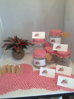 24 Red Gingham Jam Jar Covers with Free Gift Tags Labels, String & Elastic Bands