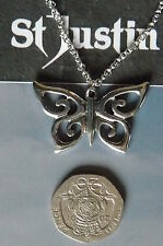 ST JUSTIN,SPIRAL BUTTERFLY,PN728, PEWTER PENDANT, UK MADE,