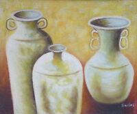 Gemälde - Vasen - handgemalt Leinwand Acryl Malerei modern Keramik Terrakotta
