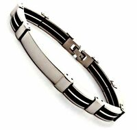 "NEW SLEEK 8mm Stainless Steel ENGRAVABLE 8.5"" SILVER & BLACK -ID BRACELET -Boxed"