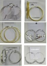 Fashion jewelry lots 6 pairs Mixed Style Gold and Silver Plated Hoop Earrings I8