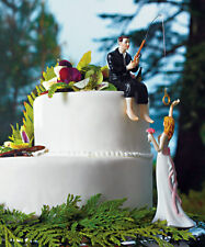 Hooked on Love Fishing Groom Catching Bride Funny Wedding Cake Topper