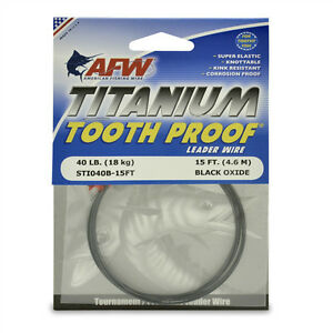 AFW TOOTH PROOF TITANIUM LEADER-Single Strand Wire-40LB Test- NEW! STI040B-15FT