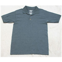Gildan Gray Cotton Poly Polo Shirt Short Sleeve Men's Man's Small 3-Button Top
