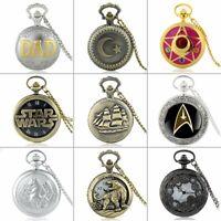 Steampunk Vintage Quartz Antique Pocket Watch Chain Necklace Pendant Retro Gift