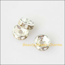 25Pcs Crystal Silver Plated Round Flat Spacer Beads End Caps Charms 8mm