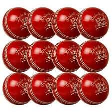 12 x Dukes Club Match Cricket Balls Red Adult 5.5oz
