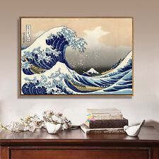Art Silk Canvas Poster The Great Wave Ukiyoe Japanese Paint Decor Unframed 24x16