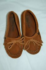 Kids Youth Minnetonka Brown Leather Moccasin Shoes sz.1