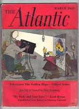THE ATLANTIC Magazine MAR 1949 - TELEVISION - ASIA CHINA - Lord Byron -FreeShip