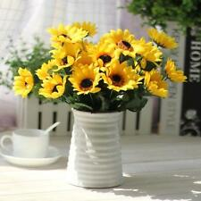 14 Heads Silk Fake Sunflower Flowers Bouquet Floral Garden Home Decor US