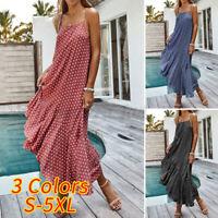 Plus Size Womens Sleeveless Polka Dot Beach Ladies Holiday Loose Frill Sun Dress