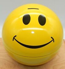 "Happy Face Large 10"" Round Yellow Metal (2) Half Opening Coin/Money Bank VINTAGE"