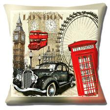 "London Icons Big Ben London Eye Telephone Box Red Bus 16""x16"" 40cm Cushion Cover"