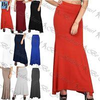 Womens Plus Size Maxi Skirt Ladies Gypsy Plain Stretchy Flared Franki Long 8-22
