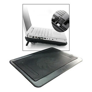 New Portable Laptop Cooler Mat Quiet Cooling Pad Tray 1 Fan Bracket Black