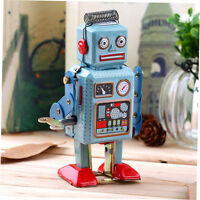Vintage Mechanical Clockwork Wind Up Metal Walking Robot Tin Toy Kids Gift FBXD