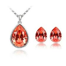 SILVER AND CRYSTAL NECKLACE & EARRING SETS IN AMBER **UK SELLER** BRIDE PRESENT
