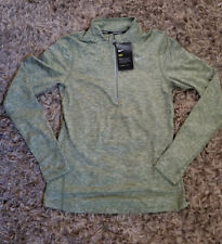 Nike Element Women's Half Zip Long Sleeve Pullover Running Shirt L Vintage Green