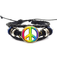 Tie Dye Peace Sign Glass Cabochon Bracelet Braided Leather Strap Bracelets