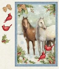 WINTER STILL HORSES SNOWFLAKES HOLLY CARDINALS CHRISTMAS LARGE FABRIC PANEL